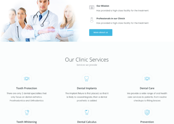 dental clinic website services page redesign